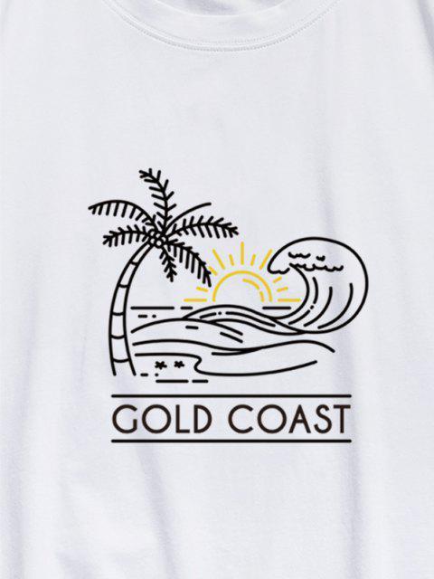 hot ZAFUL GOLD COAST Palm Tree Sea Waves Print Basic T-shirt - WHITE L Mobile