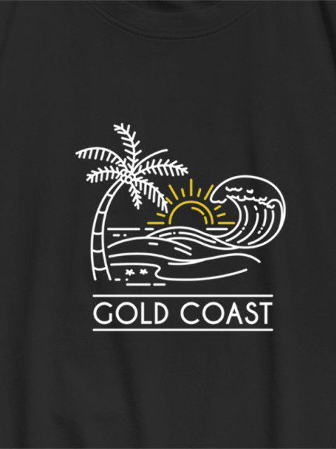 outfits ZAFUL GOLD COAST Palm Tree Sea Waves Print Basic T-shirt - BLACK S Mobile