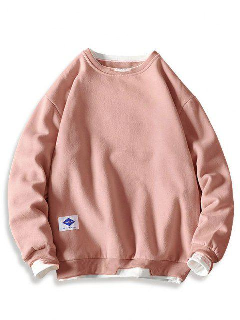 new Letter Embroidery Contrast Stepped Hem Sweatshirt - PINK 3XL Mobile