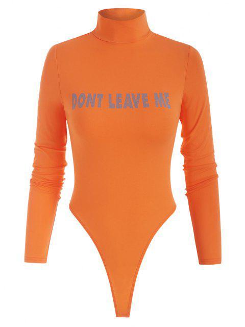 new High Neck DONT LEAVE ME Graphic Bodysuit - ORANGE L Mobile