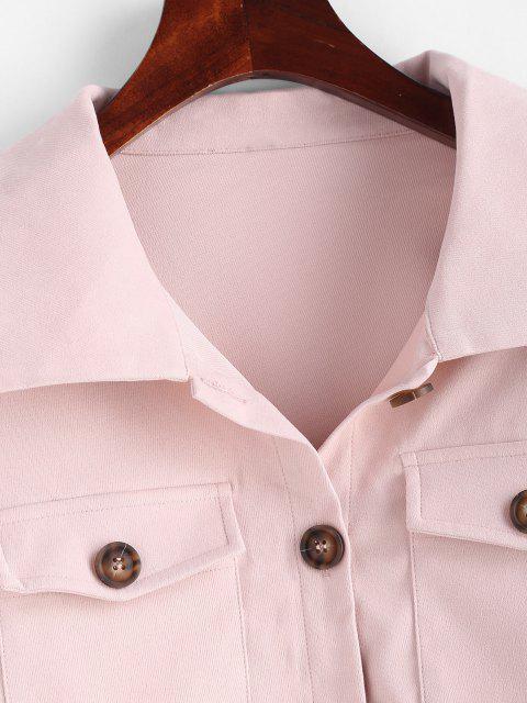 ladies Flap Pockets Solid Cargo Shacket - LIGHT PINK L Mobile