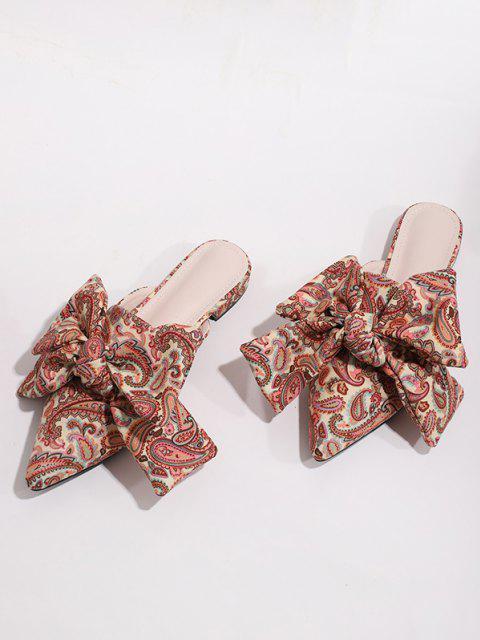 women Paisley Printed Bowknot Flat Shoes - MULTI-A EU 41 Mobile