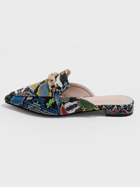 Chaussures PlatesSerpentImprimé Ornées de ChaînesàBoutsPointus - Multi-A EU 37 Mobile
