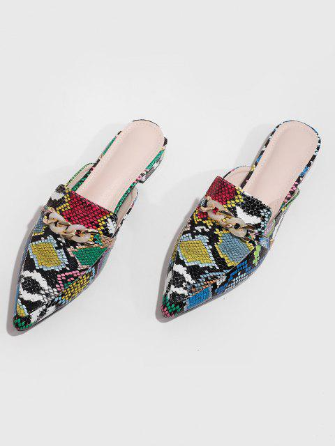 Chaussures PlatesSerpentImprimé Ornées de ChaînesàBoutsPointus - Multi-A EU 39 Mobile