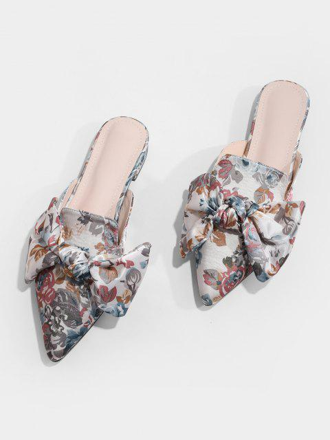 outfit Floral Print Bowknot Pointed Toe Half Flats - MULTI-A EU 39 Mobile
