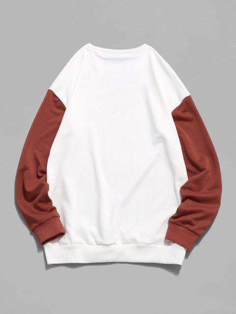 Sweatshirt Lettre Graphique Imprimée en Blocs de Couleurs à Goutte Epaule - Blanc XL Mobile