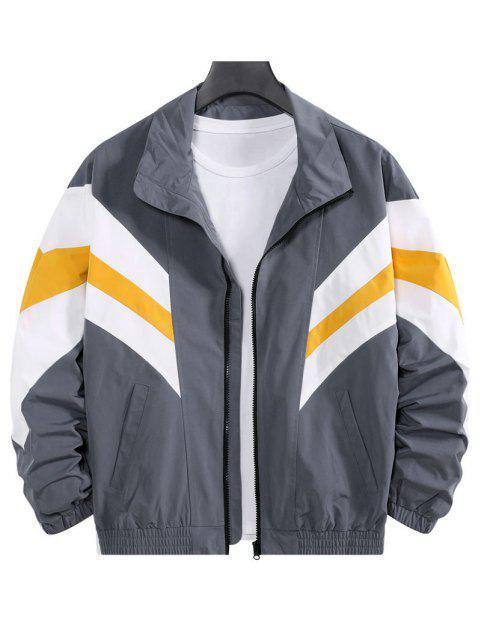 hot Colorblock Striped Dop Shoulder Leisure Jacket - GRAY L Mobile