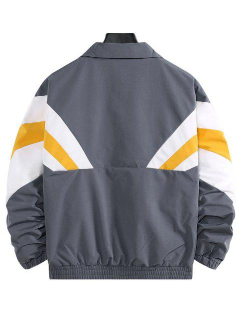 trendy Colorblock Striped Dop Shoulder Leisure Jacket - GRAY XL Mobile