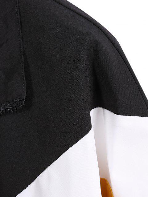Farbblock Gestreiftes Rostigkeit Schulter Freizeit Jacke - Schwarz 3XL Mobile