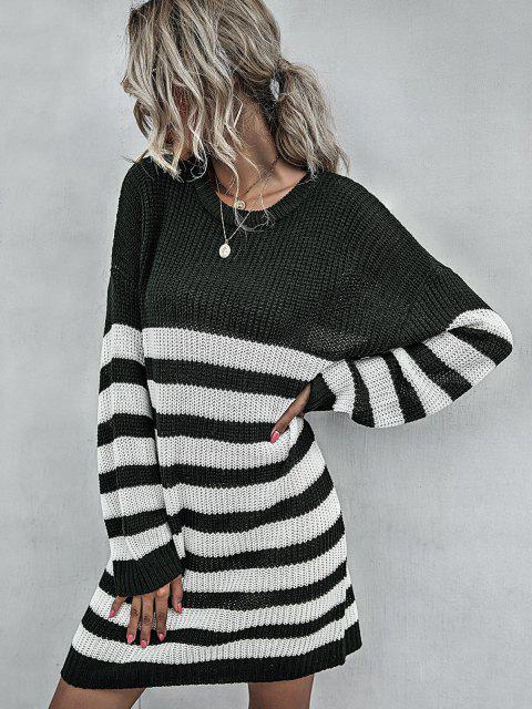 online Stripe Drop Shoulder Mini Sweater Dress - DEEP GREEN M Mobile