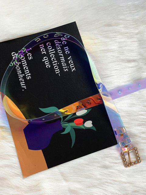 unique Square Rhinestone Buckle Transparent Hologram PVC Belt - MULTI-A  Mobile