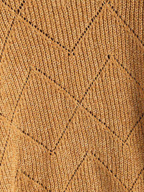Rollkragen Pointelle Strick Chenille Pullover - Kaffee Eine Größe Mobile