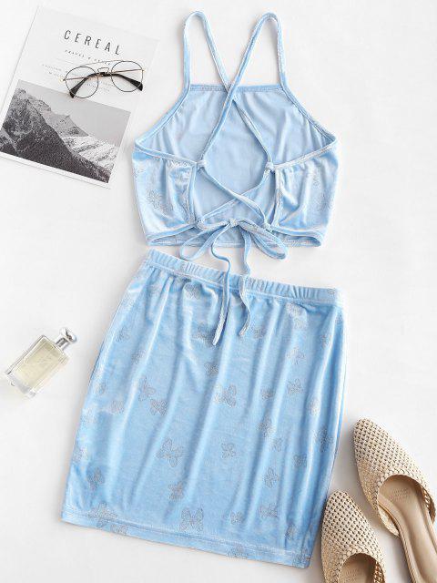 ladies ZAFUL Metallic Butterfly Velvet Lace Up Bodycon Skirt Set - LIGHT BLUE L Mobile