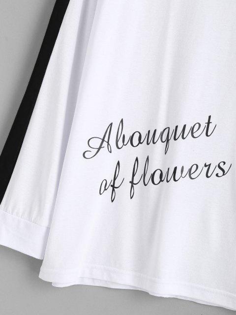 fashion Color Blocking Letter Print Pajama Set - WHITE L Mobile