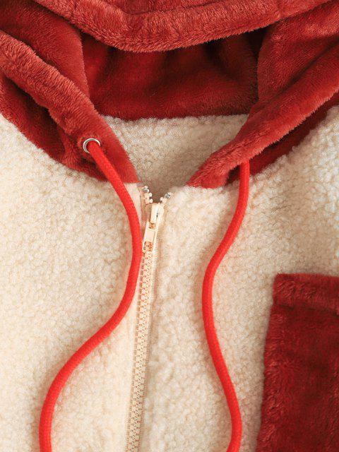 Manteau à Capuche Zippé avec Poche Jointive en Fausse Fourrure - café lumière L Mobile