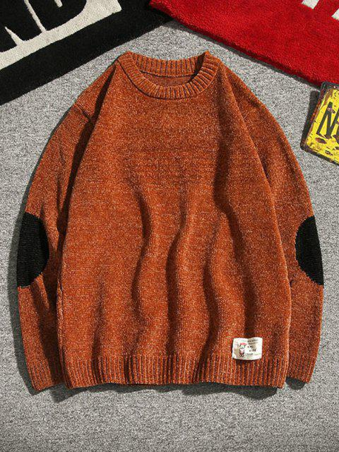 online Graphic Applique Contrast Sweater - COFFEE XS Mobile