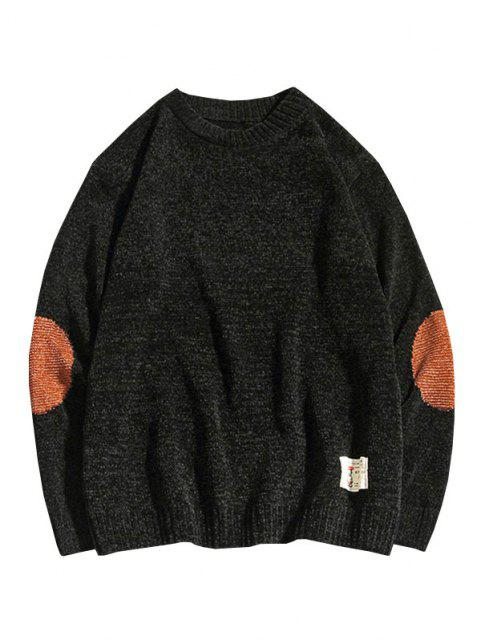 best Graphic Applique Contrast Sweater - BLACK XS Mobile