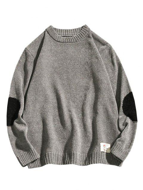 chic Graphic Applique Contrast Sweater - GRAY L Mobile