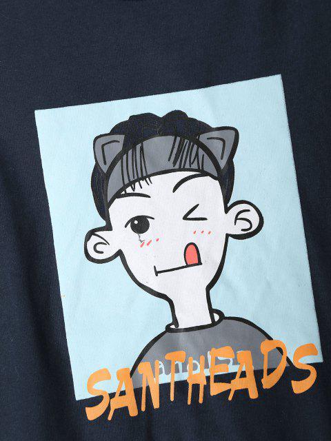 Cartoon Charakter Buchstabedruck Farbblock Pyjama Set - Tiefes Blau L Mobile