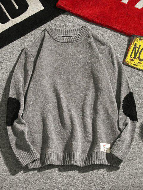online Graphic Applique Contrast Sweater - GRAY S Mobile