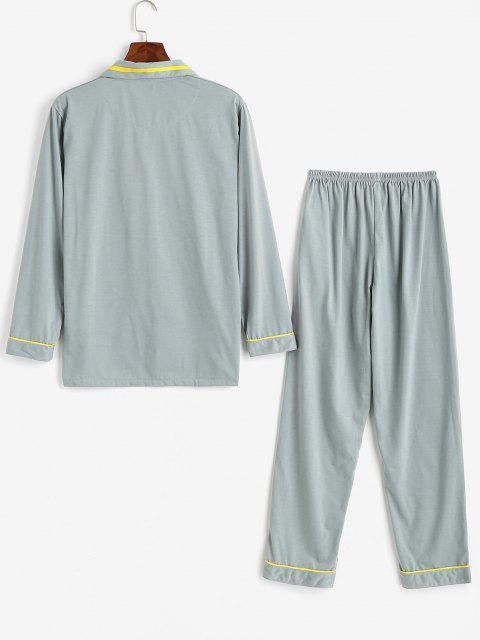 fashion Cartoon Character Slogan Print Colorblock Pajamas - LIGHT GRAY L Mobile
