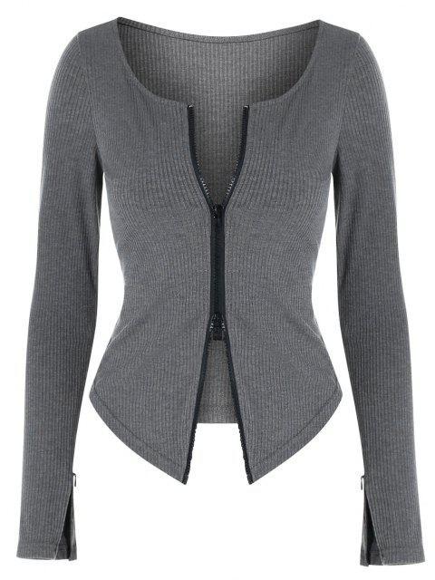women's ZAFUL Two Way Zipper Asymmetric Ribbed Cardigan - DARK GRAY M Mobile