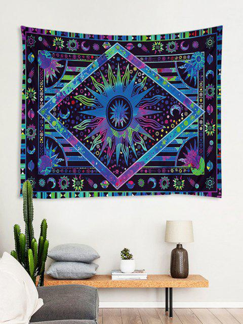 outfits Bohemia Sun And Moon Printing Wall Tapestry - DEEP BLUE W91 X L71 INCH Mobile