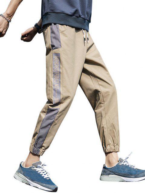 chic Letter Print Contrast Striped Drawstring Beam Feet Pants - KHAKI 2XL Mobile