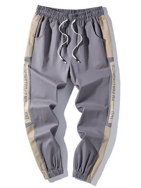 Letter Print Contrast Striped Drawstring Beam Feet Pants - اللون الرمادي 2XL Mobile