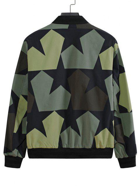 latest Camo-Star Print Zip Up Multi Pockets Baseball Jacket - BLACK L Mobile