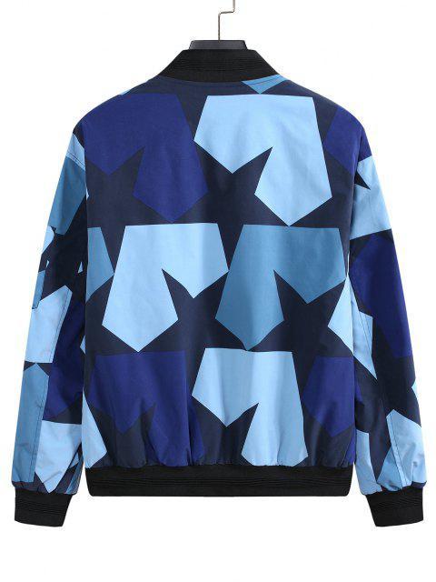 Veste de Baseball Camouflage Zippée Etoile Imprimée avec Multi-Poches - Bleu 3XL Mobile