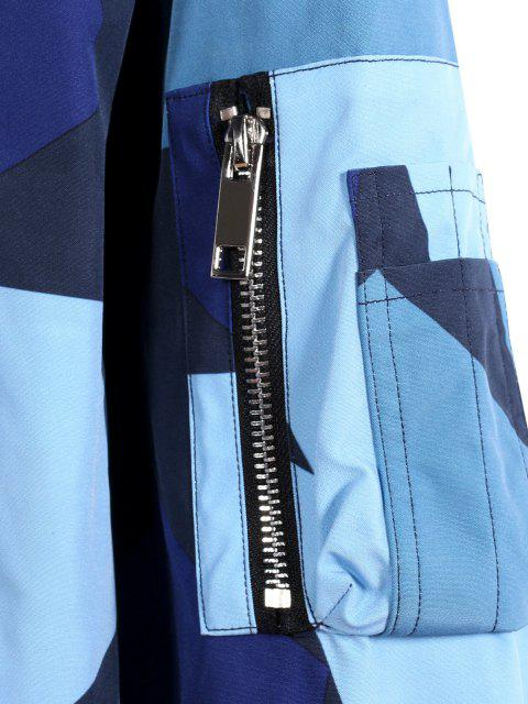 Veste de Baseball Camouflage Zippée Etoile Imprimée avec Multi-Poches - Bleu M Mobile