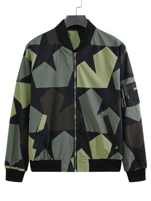 Veste de Baseball Camouflage Zippée Etoile Imprimée avec Multi-Poches - Noir XL Mobile