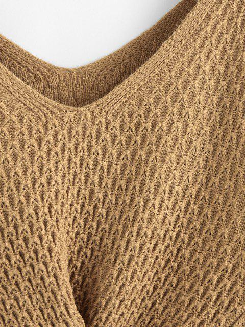 lady ZAFUL Twisted Double V Jumper Sweater - LIGHT COFFEE S Mobile