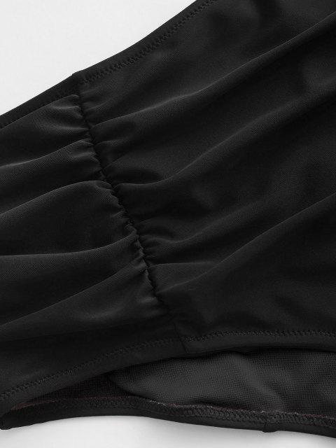 womens ZAFUL Plus Size Ruched High Rise Bikini Bottom - BLACK XL Mobile