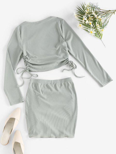 online ZAFUL Rib-knit Cinched Two Piece Dress - LIGHT GREEN L Mobile