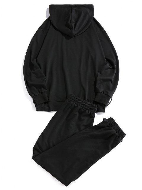 Kontrast Patch Toggle Hoodie und Hose Set - Schwarz 2XL Mobile