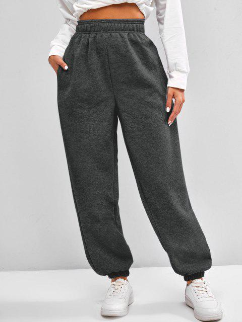new Fleece Lined Pocket Beam Feet High Rise Pants - GRAY L Mobile