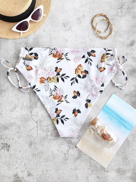 ZAFUL Übergröße Blumen Bikini Unterteile mit Schnürung - Gelb XL Mobile