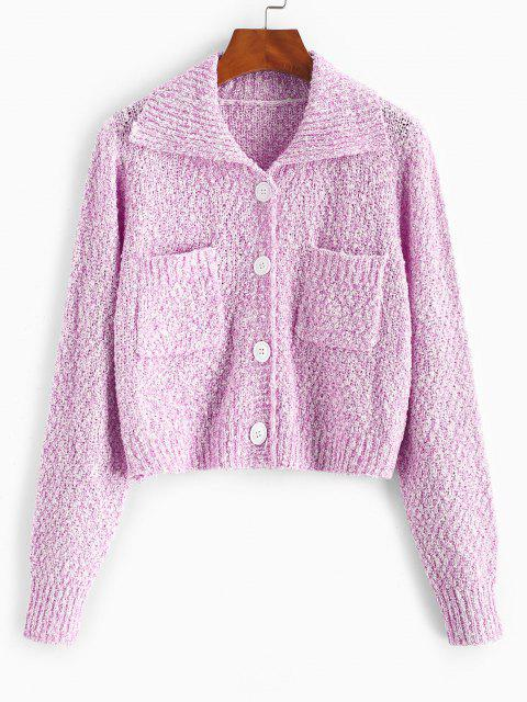 online Pocket Single Breasted Boucle Knit Cardigan - LIGHT PINK ONE SIZE Mobile