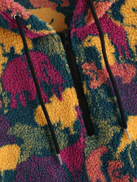 women's Camouflage Print Faux Fur Half Zipper Drawstring Hoodie - MULTI S Mobile
