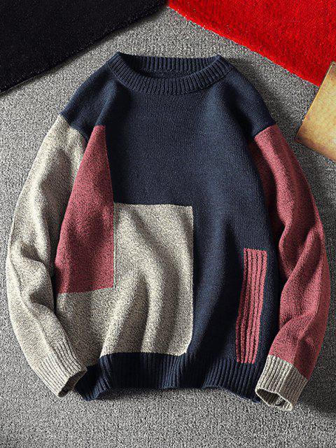Maglione con Motivo Geometrico a Contrasto e Colletto Girocollo - Cadetblue M Mobile