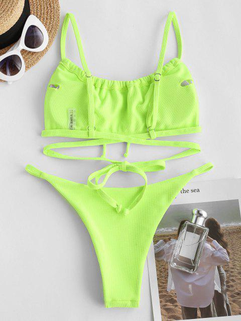 ZAFUL Strukturierte Krawatte Bikini Badebekleidung - Smaragd S Mobile