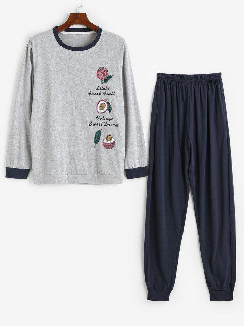 buy Litchi Pattern Letter Graphic Pajama Set - GRAY L Mobile