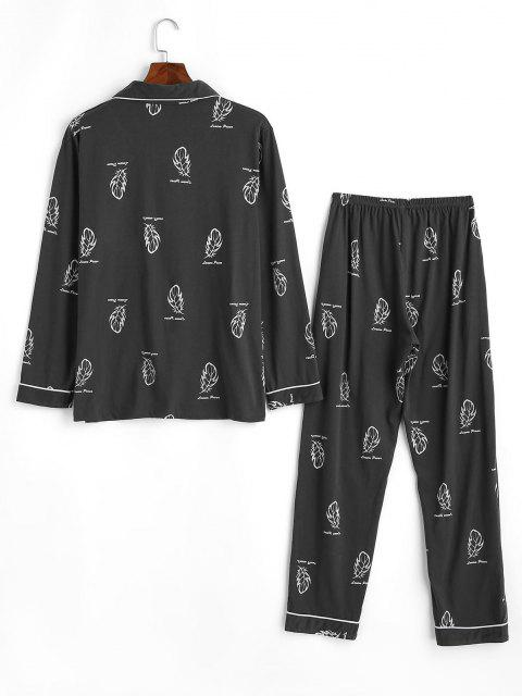 women's Leaf Letter Print Pocket Patch Pajama Set - DARK GRAY XS Mobile