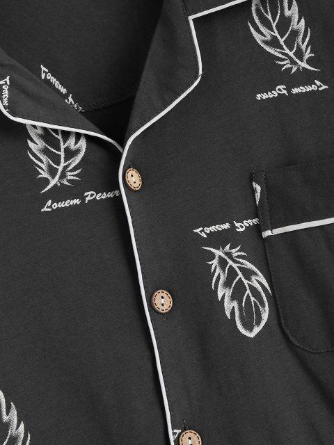Blatt Buchstabendruck Patch Pyjama Set mit Taschen - Dunkelgrau XS Mobile
