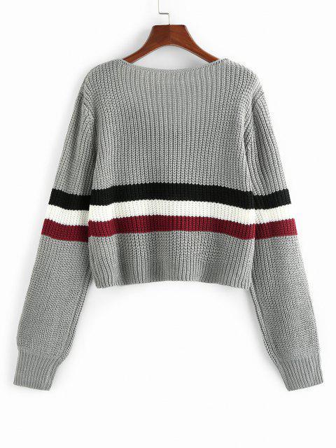 ZAFUL Weite Gestreifter Pullover mit V Ausschnitt - Hellgrau S Mobile