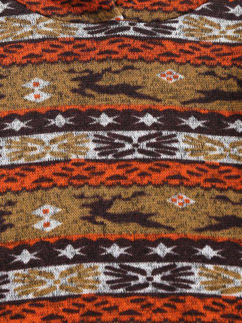 lady ZAFUL Christmas Elk Geo Fleece Jersey Hoodie - COFFEE S Mobile