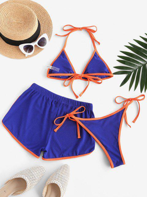 latest ZAFUL Halter Binding Ribbed Three Piece Bikini Swimsuit - BLUE S Mobile