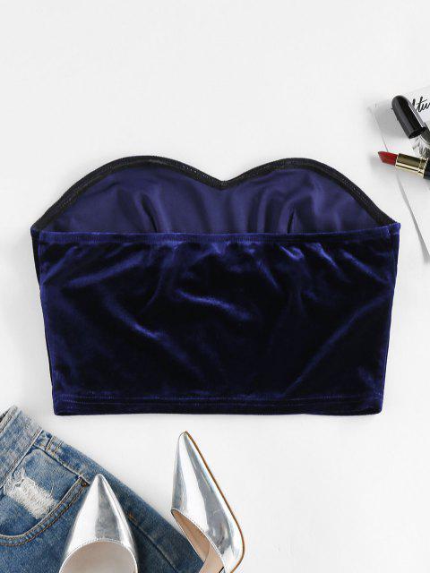 ZAFUL HautenTissu Simple en Velours - Bleu profond S Mobile